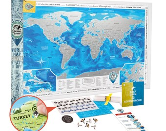 Scratch off World Map SILVER - Award Winning 34.7x24.4'' Travel Map w/ Detailed Cartography - Premium Large Scratch off Map w/ US States