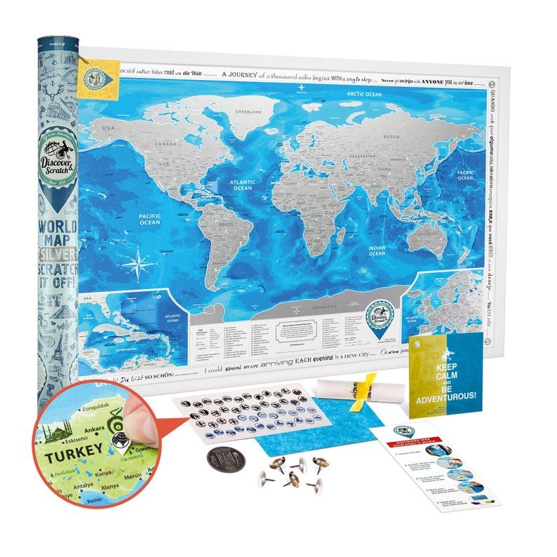 Scratch off World Map SILVER  Award Winning image 0