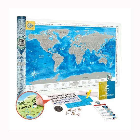 Large Scratch Off World Map.Scratch Off World Map Silver Award Winning Etsy