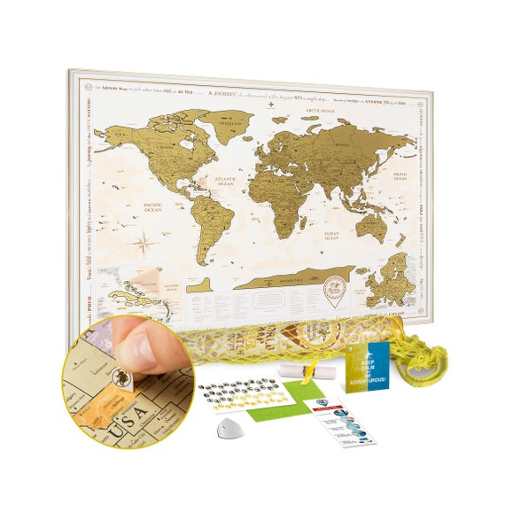 World Map Gift Bags.Scratch Off World Map Gold Gift Bag Premium Quality Etsy