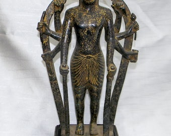 Bronze Buddha statue with 6 arms on wooden pedestal antique patina 34x17x7