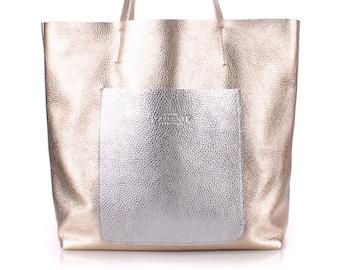 bd74ed64f0 Large Working Tote Bag - Gold tote bag - Silver tote bag - School Bag -  women bag - casual bag - leather bag tote - white bag tote