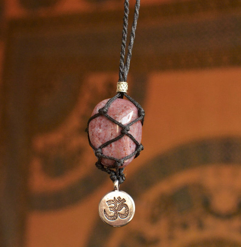 Macrame Stone Holder Necklace with Purple Jasper and Aum symbol