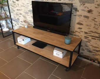 TV stand wood and steel metal
