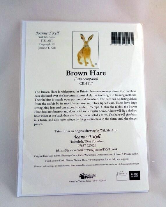 Print By Yorkshire Wildlife Artist Joanne T Kell /'BROWN HARE/' GREETINGS CARD
