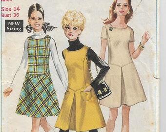 Vintage 1968 Misses Dress, Simplicity Pattern 7819, Sewing Pattern, Size 14, Womens Dress, Vintage Dress, CUT and COMPLETE