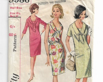 Vintage 1965 One Piece Dress, Simplicity Pattern 5986, Vintage Dress Pattern, Vintage Pattern, Sewing Pattern, Shift Dress, CUT and COMPLETE