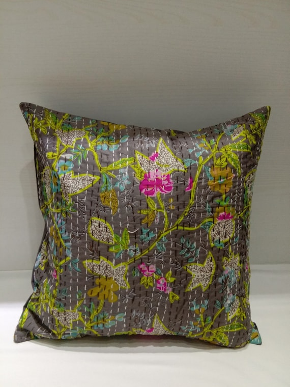 Fabulous Hand Stitched Grey Floral Printed Kantha Cushion Cover Handmade 18 X 18 Pillow Case Cover Indian Cotton Decor Sofa Set Cushion Throw Ncnpc Chair Design For Home Ncnpcorg