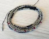 Wrap bracelet Elegance 5 layers black and metallic grey square beads red crystals boho bracelet thin wrap bracelet choker necklace