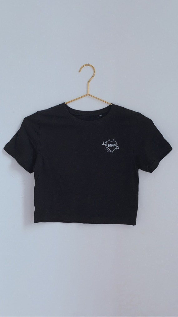 HFK Heather Black Crop Tee
