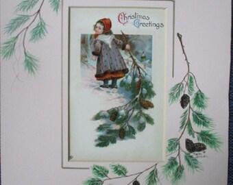 Vintage Christmas Postcard ~  Handpainted Mat