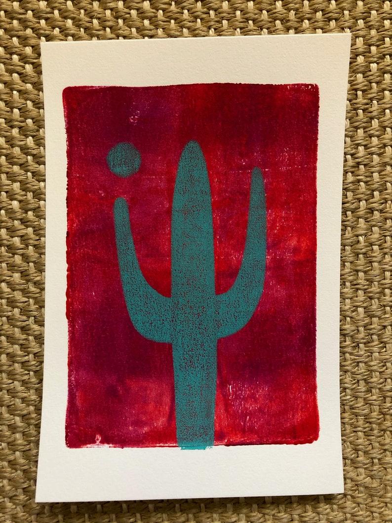 ORIGINAL MONOPRINT: Saguaro  5x7 image 0