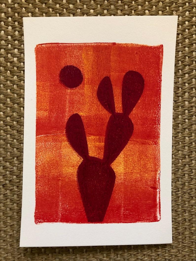 ORIGINAL MONOPRINT: Prickly Pear  5x7 image 0