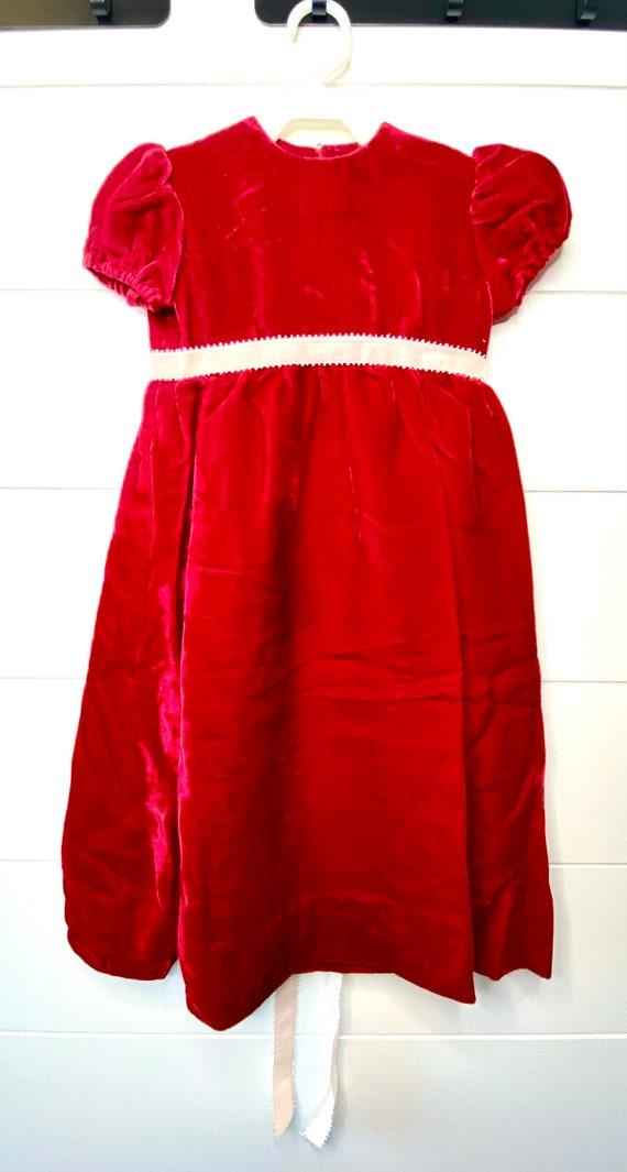 Vintage Crushed Red Velvet Dress, Vintage Red Velv