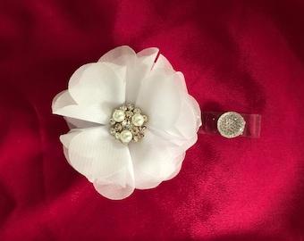 White Flower badge reel