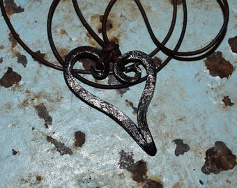 Hand Forged whimsical heart pendant necklace