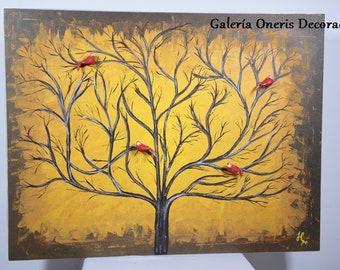 "Modern decorative table-painting ""Yellow ocher Tree"" home decor, artwork, art wall, art, decor home, tree paintings"