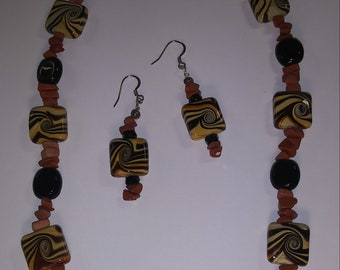 Tiger Swirl Necklace and Earring Set