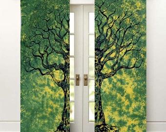 Green Tie Dye Tree Of Life Window Curtains Indian Mandala Drape Balcony Room Decor Curtain Boho Set Urban Tapestry Dorm