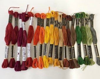 """EMBROIDERY YARN PALETTE """"Autumn"""", Embroidery Twist, Yarn for Embroidery, Autumn, Embroidery Yarn Set"""