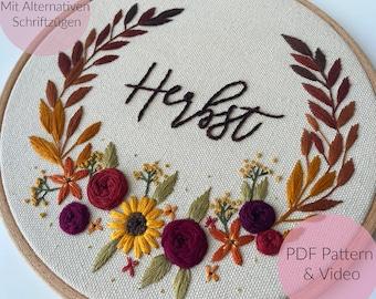 STICKVORLAGE  HERBSTKRANZ , Fall Wreath, Herbst Deko, Herbstkranz, Stickbild, Herbst, Modern Embroidery,  Sticken, individualisierbar