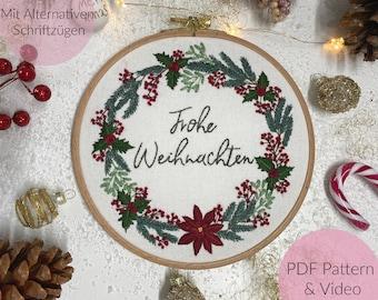 STICKVORLAGE, WEIHNACHTEN, WEIHNACHTSKRANZ, Christmas Wreath, Embroidery, Stickbild, Embroidery Pattern, individualisierbar +Videotutorial