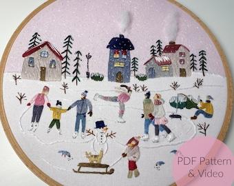 STICKVORLAGE Winter Wonderland, Stickbild, Modern Embroidery, Sticken, individualisierbar + Tutorial
