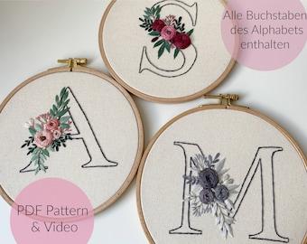 STICKVORLAGE ALPHABET, BUCHSTABEN, Floraler Buchstabe, Blumen Buchstabe, Sticken, Modern Embroidery, Stickbild, Monogramm