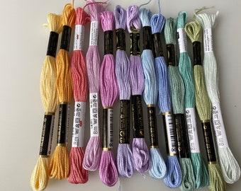 """STICKGARN GARNPALETTE """"PASTELL"""" Embroidery twist, embroidery yarn, embroidery, pastel colours, 13 yarn docks"""