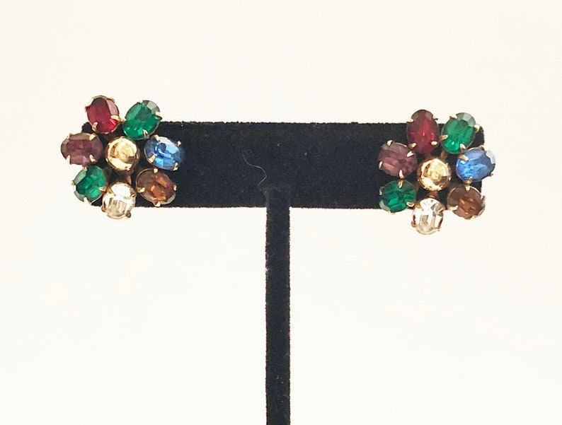 gorgeous chunky rainbow colored flower Vintage gold screw back earrings