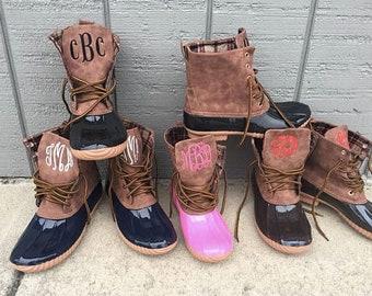 Monogrammed Suede Duck Boots