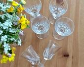 6 vintage - octagonal foot - chiselled glass shot glasses