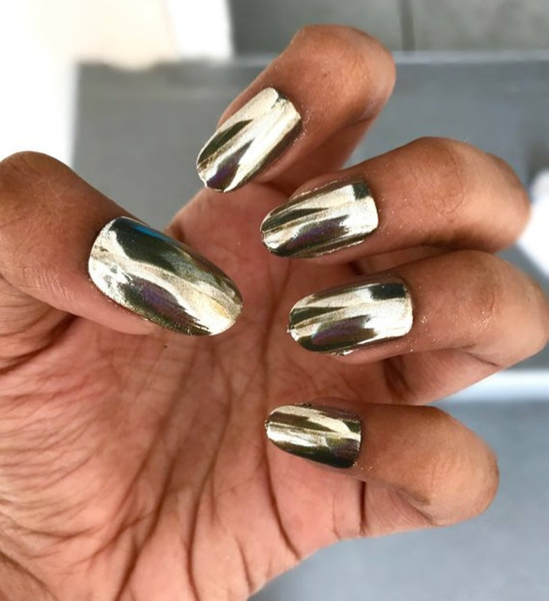 SILVER CHROME nail pigment mirror pigment dust nail art | Etsy