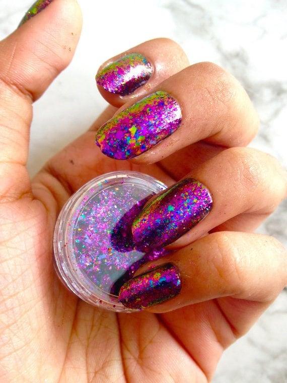 VOIE lactée - galaxie nail art, ongles paillettes, flocons de caméléon, ultra minces légers flocons, résistant aux solvants, couleur déplacement flocons, pigment caméléon