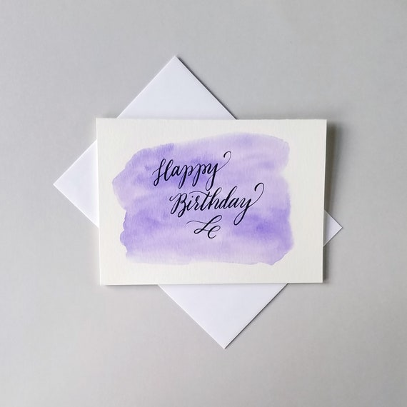 Modern Calligraphy Happy Birthday Card With Purple Watercolor Etsy