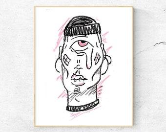 Cyclops Portrait Pastel Print Poster