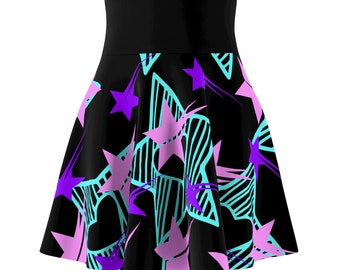 Green Pink Purple Stars Skater Skirt