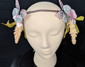 Fantasy Butterfly Floral Ribbon Tied Crown