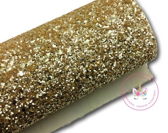 Gold Chunky Glitter Canvas Sheets, Glitter Faux Leather, Vinyl Fabric Sheet, 7x13 Faux Leather