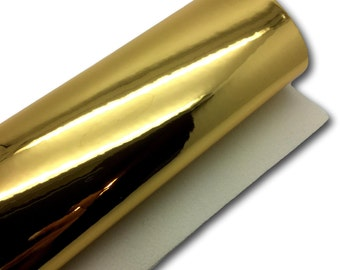 GOLD MIRROR Faux Leather Sheet, SMOOTH Faux Leather  Material, 7x13 Faux Leather Material for Hair Bows