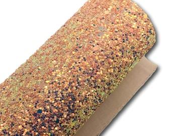 PEACH FUZZ Chunky Glitter Canvas Sheets, PREMIUM Glitter, Glitter Faux Leather, Vinyl Fabric Sheet, 7x13 Faux Leather