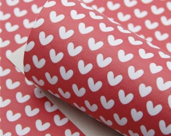 RED & WHITE HEARTS Faux Leather Sheets, Valentines Day, Printed Faux Leather, Vinyl Fabric Sheet, 7x13 Faux Leather