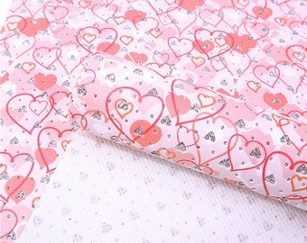 BE MINE Glitter Hearts Faux Leather Sheets, .70 thick Faux Leather, 7.5x13 Faux Leather, Material for Hairbows and Earrings