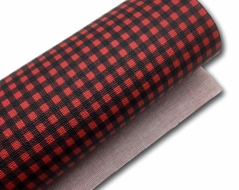 NEW Buffalo Plaid Faux Leather Sheets, Red and Black, Printed Faux Leather, Vinyl Fabric Sheet, 7x13 Faux Leather