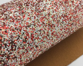 SANTA'S FAVORITE Chunky Glitter Canvas Sheets, Glitter Faux Leather, Vinyl Fabric Sheet, 7x13 Faux Leather