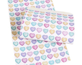 CONVERSATION HEARTS Faux Leather Sheets, Valentines Day, Printed Faux Leather, Vinyl Fabric Sheet, 7x13 Faux Leather