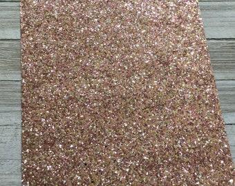 Rose Gold Chunky Glitter Fabric Sheet, Faux Leather Sheets, Glitter Fabric Sheet, 8x11 Faux Leather, DIY Hair Bows, DIY Earrings