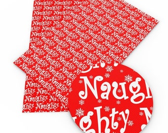 NAUGHTY Christmas Faux Leather Sheets, Printed Faux Leather, Vinyl Fabric Sheet, 7x13 Faux Leather, Christmas Print Fabric