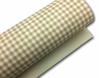 NEW Buffalo Plaid Faux Leather Sheets, Beige and White, Printed Faux Leather, Vinyl Fabric Sheet, 7x13 Faux Leather