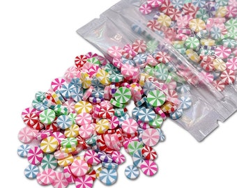 Multi Color Peppermint Polymer Clay Slices, Fake Sprinkles, Deco Jimmies, Clay Slices for Nail Art, Resin Crafts and Slime